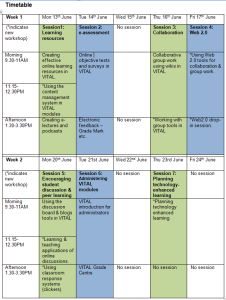 eLearning Unit: e-learning summer school timetable
