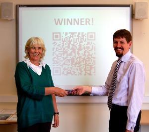 QR code winner, Elspeth McLean (School of Health Sciences)