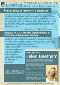 Making sense of learning in a digital age - guest lecture by Helen Beetham