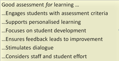Good assessment for learning principles - a summary of multiple theories