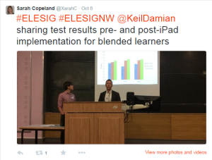 Damien Keil & Adrian, MMU on their iBook development for sport science students presenting at ELESIG NW symposium